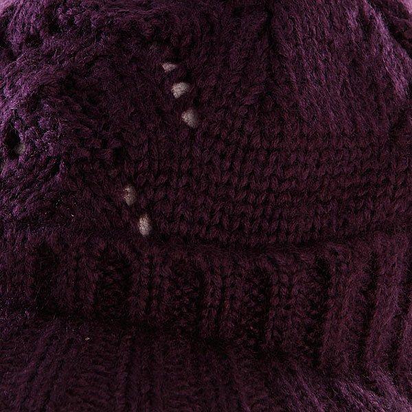 фото Шапка женская с помпоном Zoo York Lace Knit Cable Hat Potent Purple - картинка [2]