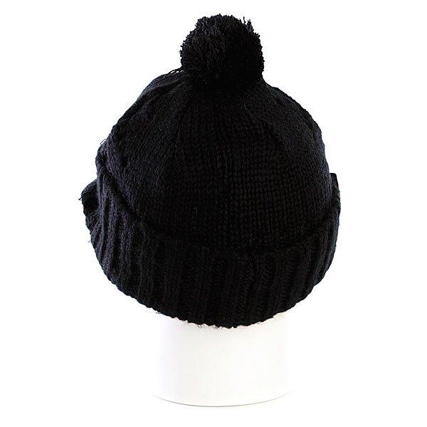 фото Шапка женская с помпоном Zoo York Lace Knit Cable Hat Black - картинка [3]