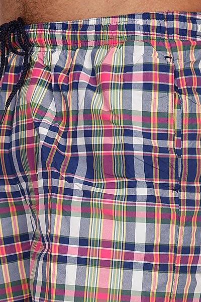Пляжные мужские шорты Fred Perry Yarn Dyed Check Swim Short Blue/Pink Proskater.ru 1629.000
