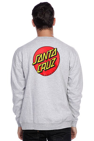 Толстовка Santa Cruz Classic Dot Crew Grey Heather Proskater.ru 2600.000