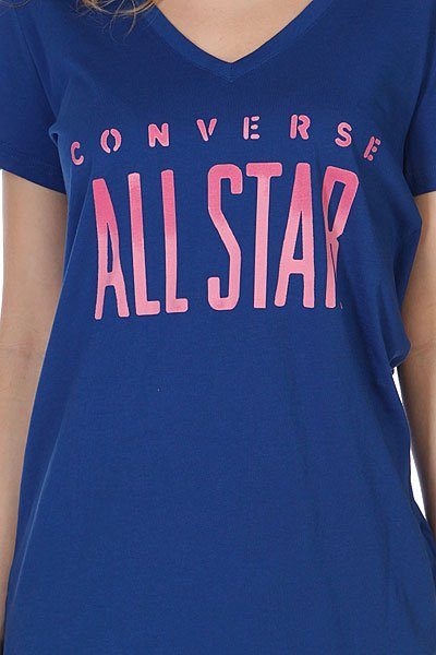 Футболка женская Converse All Star V Neck Blue Proskater.ru 1100.000