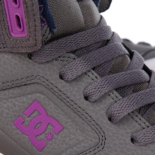 Кеды кроссовки высокие женские DC Shoes Nyjah High Grey/Purple Proskater.ru 4650.000
