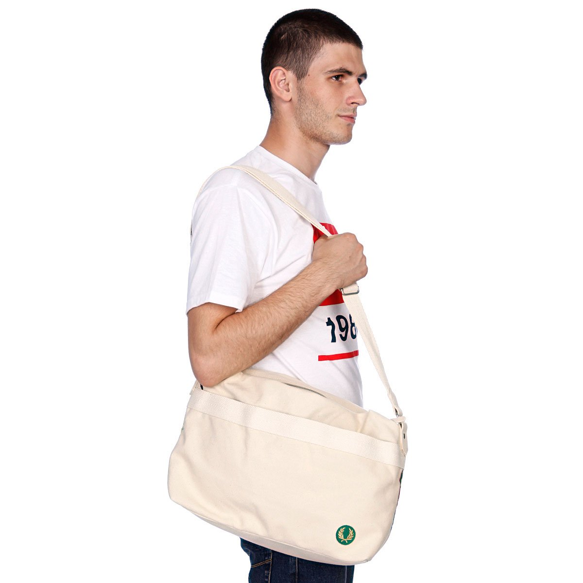 сумка fred perry : Fred perry canvas decnsrtd shoulder bag cream