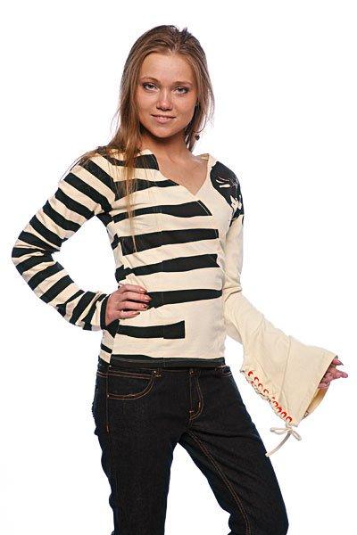 Блузка женская  Huckeberry Off White Split. Цвет: черный,бежевый