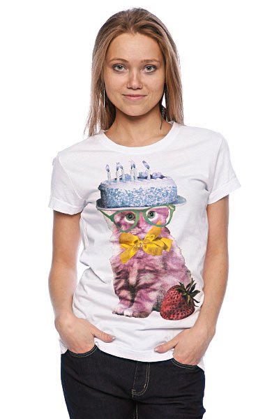 Футболка женская Insight Cat Cake Basic Tee White футболка женская insight make em blind tee raw white