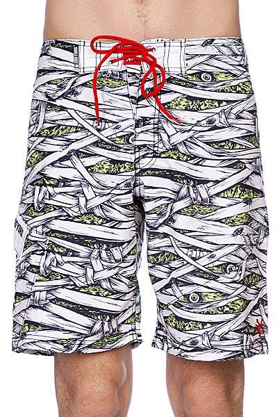 Пляжные мужские шорты Zoo York Mummified Boardshorts White<br><br>Цвет: белый,черный<br>Тип: Шорты пляжные<br>Возраст: Взрослый<br>Пол: Мужской