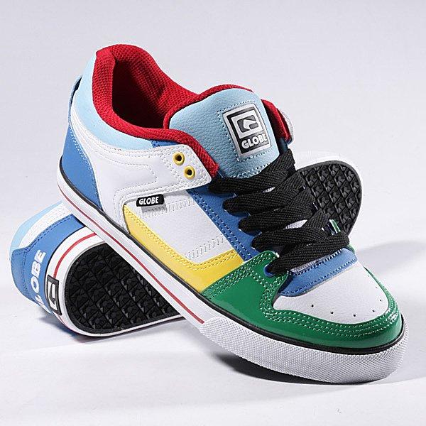 Кеды кроссовки Globe Rage White/Multi<br><br>Цвет: белый,синий,зеленый<br>Тип: Кеды низкие<br>Возраст: Взрослый<br>Пол: Мужской
