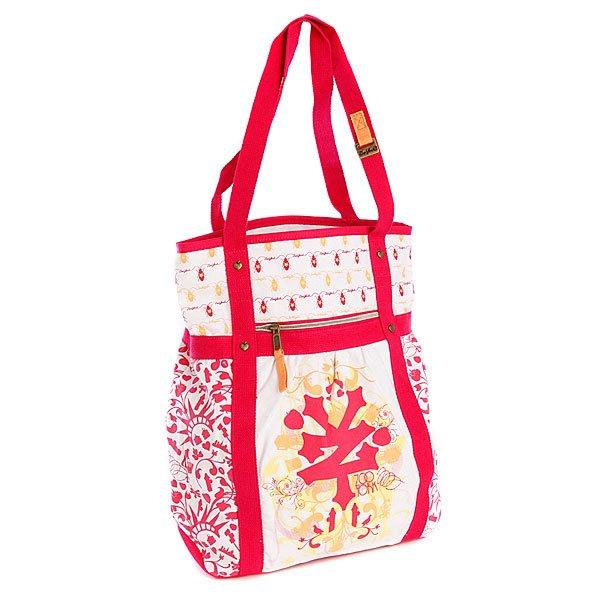 Сумка Zoo York Mix It Up Shopper RaspberryТехнические характеристики: Верх из  текстиля (100% хлопок).  Без внутренней подкладки. Без застежки. Две широкие ручки-лямки для ношения сумки на плече. Лицевой карман на молнии. Потайной карман на молнии. Форм-фактор – сумка для покупок.<br><br>Цвет: белый,красный<br>Тип: Сумка<br>Возраст: Взрослый<br>Пол: Женский