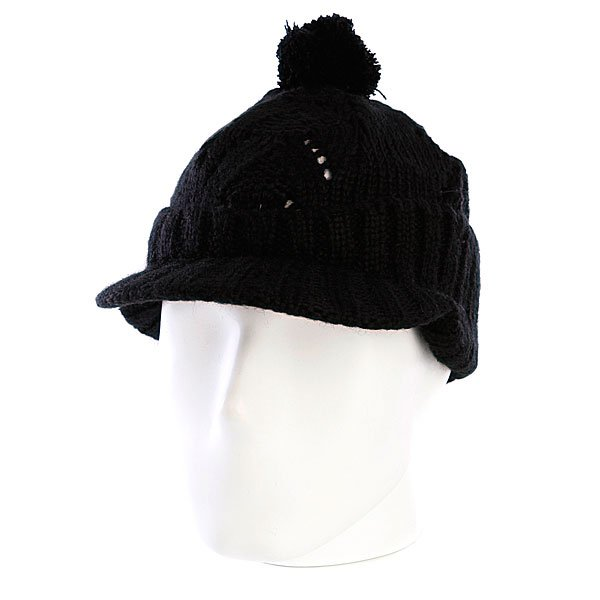 Шапка с помпоном женская Zoo York Lace Knit Cable Hat Black