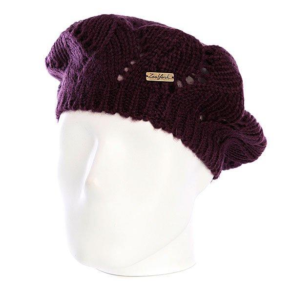 Шапка вязаная женская Zoo York Pointelle Beret Potent Purple<br><br>Цвет: фиолетовый<br>Тип: Шапка<br>Возраст: Взрослый<br>Пол: Женский