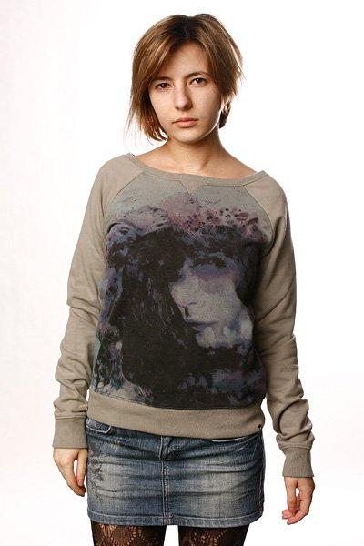 Толстовка классическая женская Insight Floral Kingdom Sweater Mushroom<br><br>Цвет: серый<br>Тип: Толстовка классическая<br>Возраст: Взрослый<br>Пол: Женский