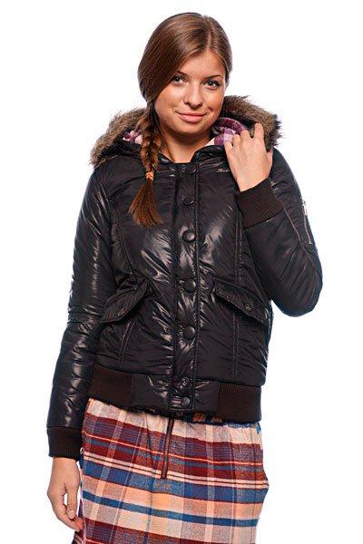 Куртка зимняя женская Zoo York Motto Snorkel BlackТехнические характеристики: Верх из 100% нейлона. Внутренняя подкладка из тафты. Легкое утепление - синтепон (осень/весна).  Застежка – молния + кнопки по всей длине.  Съемный капюшон с отделкой из искусственного меха. Два боковых прорезных кармана для рук.  Эластичные лайкровые манжеты на рукавах и поясе. Фасон: стандартный (regular fit).<br><br>Цвет: черный<br>Тип: Куртка зимняя<br>Возраст: Взрослый<br>Пол: Женский