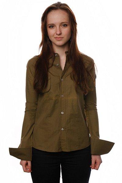 Рубашка женская  Romantic Army Split. Цвет: зеленый