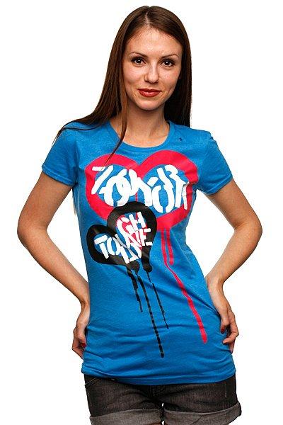Футболка женская Zoo York Tough Love Tee Blue Heather<br><br>Цвет: голубой<br>Тип: Футболка<br>Возраст: Взрослый<br>Пол: Женский