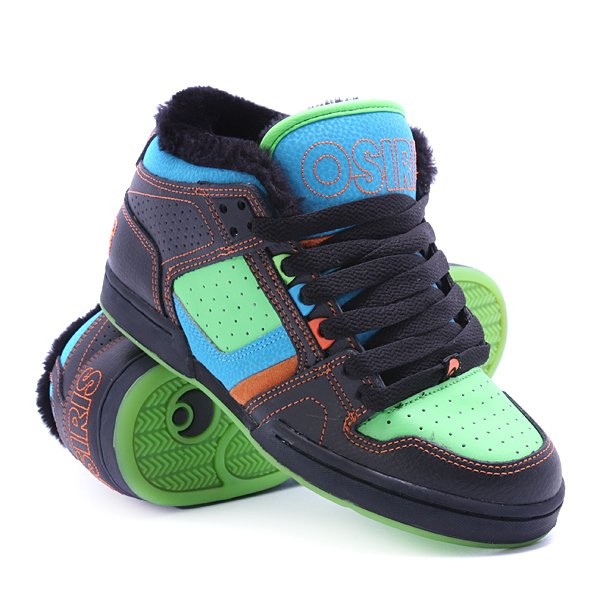 Кеды кроссовки утепленные Osiris South Bronx Blue/Green/Shearling кеды кроссовки высокие dc council mid tx stone camo
