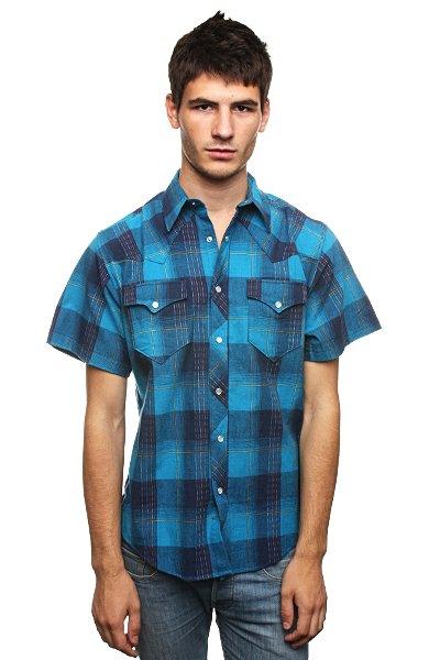 Рубашка в клетку Fallen Santa Fe Snap Up Malibu<br><br>Цвет: синий<br>Тип: Рубашка в клетку<br>Возраст: Взрослый<br>Пол: Мужской