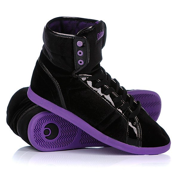 Кеды кроссовки высокие женские Osiris Soha Black/Purple/Velvet цены онлайн
