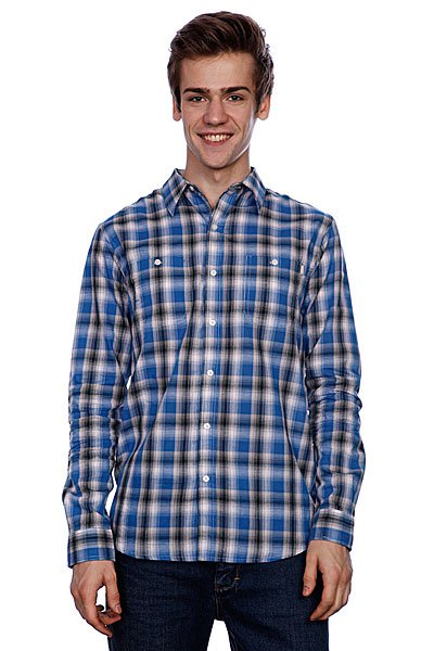 Рубашка в клетку Huf Poplin Shadow Plaid Woven Blue рубашка в клетку dc kalis plaid ls wvtp kalis plaid chili pepper
