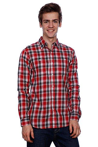 Рубашка в клетку Huf Poplin Shadow Plaid Woven Red рубашка в клетку dc kalis plaid ls wvtp kalis plaid chili pepper