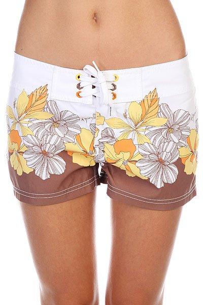 Шорты пляжные женские Animal Fennel White/Brown<br><br>Цвет: белый<br>Тип: Шорты пляжные<br>Возраст: Взрослый<br>Пол: Женский