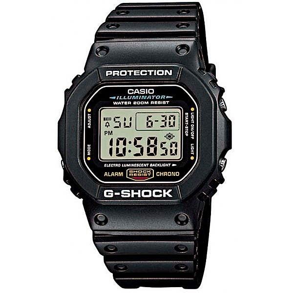 Часы Casio G-Shock DW-5600E-1VБлагодаря электролюминесцентной панели обеспечивается освещение всего циферблата после нажатия кнопки.Благодаря противоударной защите часы могут выдержать достаточно сильный удар или сотрясение без негативных последствий.Спортсменам и всем, кому нужна точная информация: прошедшее и финальное время, а также время прохождения этапов измеряется с точностью 1/100 секунды. Максимальное измеряемое время 24 часа.Для поклонников точности: в заданное время таймер обратного отсчета с помощью звукового сигнала напомнит вам о текущих или особенных событиях. Сигнал можно установить как на следующую минуту, так и на любое время до 24 часов. Также отсчет может начаться в заранее заданное время. Идеально подойдет тем, кому необходимо ежедневно принимать лекарства, а также при тренировках с чередующимися нагрузками.Эти часы имеют необходимый тип сигнала для любого события, на которое вы хотите обратить внимание. В часах имеются 4 вида сигналов: 1. Ежедневный сигнал срабатывает в одно и то же время каждый день. 2. Сигнал на дату, чтобы напомнить о днях рождения. 3. Ежемесячный - подает сигнал в определенное время заданного дня каждого месяца. 4. Сигнал на каждый день определенного месяца.Батарейка обеспечит работу всех функций часов на протяжении около 2 лет.Различная длина месяцев (28, 30 или 31 день) корректируется автоматически.Измеряет промежуток времени и время окончания с точностью до тысячных секунд. Сопровождается сигналами запуска/ остановки работы секундомера. Измеряемая способность до 100 часовПрочное и устойчивое к царапинам минеральное стекло защищает часы от любых повреждений, которые могут испортить внешний вид часов.Пластиковый корпус.Ремешок из пластика.Отлично подходят для ныряния без акваланга: выдерживают давление до 20 бар / 200 метров. Эта величина означает не допустимую глубину погружения, а атмосферное давление, которое выдерживает модель во время теста на водонепроницаемость (ISO 2281).Точность хода +/- 15 секунд в месяц.Тип бата