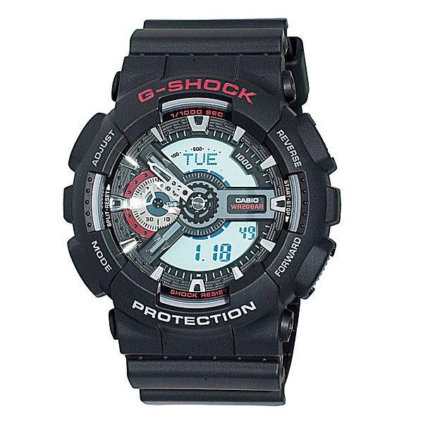 Часы Casio G-Shock GA-110-1AПросто немного наклоните часы к себе, чтобы включилась светодиодная подсветка циферблата.Благодаря противоударной защите часы могут выдержать достаточно сильный удар или сотрясение без негативных последствий.Корпус данной модели экранирует механизм от воздействия магнитных полей.С помощью функции мирового времени часы отображают время в 29 часовых поясах.Измеряет промежуток времени и время окончания с точностью до тысячных секунд. Сопровождается сигналами запуска/ остановки работы секундомера. Измеряемая способность до 100 часовДля поклонников точности: в заданное время таймер обратного отсчета с помощью звукового сигнала напомнит вам о текущих или особенных событиях. Сигнал можно установить как на следующую минуту, так и на любое время до 24 часов. Также отсчет может начаться в заранее заданное время. Идеально подойдет тем, кому необходимо ежедневно принимать лекарства, а также при тренировках с чередующимися нагрузками.Ежедневный сигнал напомнит вам о текущих делах с помощью установленного на определенное время звукового сигнала. Также по истечении каждого часа часы могут издавать сигнал, который вы можете отключить. Эта модель имеет пять независимых сигналов, что особенно удобно для напоминания о регулярных делах или встречах.После прекращения сигнала будильника он снова начинает звучать спустя несколько секунд.Батарейка обеспечит работу всех функций часов на протяжении около 2 лет.Различная длина месяцев (28, 30 или 31 день) корректируется автоматически.Прочное и устойчивое к царапинам минеральное стекло защищает часы от любых повреждений, которые могут испортить внешний вид часов.Пластиковый корпус.Ремешок из пластика.Отлично подходят для ныряния без акваланга: выдерживают давление до 20 бар / 200 метров. Эта величина означает не допустимую глубину погружения, а атмосферное давление, которое выдерживает модель во время теста на водонепроницаемость (ISO 2281).Точность хода +/- 15 секунд в месяц.Тип батарейки CR1220.Размеры: 55 мм x 51