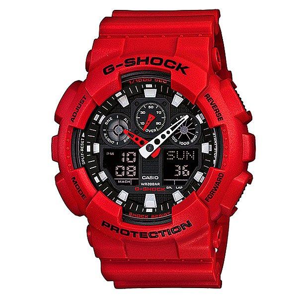 Часы Casio G-Shock GA-100B-4AПросто немного наклоните часы к себе, чтобы включилась светодиодная подсветка циферблата.Благодаря противоударной защите часы могут выдержать достаточно сильный удар или сотрясение без негативных последствий.Корпус данной модели экранирует механизм от воздействия магнитных полей.С помощью функции мирового времени часы отображают время в 29 часовых поясах.Измеряет промежуток времени и время окончания с точностью до тысячных секунд. Сопровождается сигналами запуска/ остановки работы секундомера. Измеряемая способность до 100 часовДля поклонников точности: в заданное время таймер обратного отсчета с помощью звукового сигнала напомнит вам о текущих или особенных событиях. Сигнал можно установить как на следующую минуту, так и на любое время до 24 часов. Также отсчет может начаться в заранее заданное время. Идеально подойдет тем, кому необходимо ежедневно принимать лекарства, а также при тренировках с чередующимися нагрузками.Ежедневный сигнал напомнит вам о текущих делах с помощью установленного на определенное время звукового сигнала. Также по истечении каждого часа часы могут издавать сигнал, который вы можете отключить. Эта модель имеет пять независимых сигналов, что особенно удобно для напоминания о регулярных делах или встречах.После прекращения сигнала будильника он снова начинает звучать спустя несколько секунд.Батарейка обеспечит работу всех функций часов на протяжении около 2 лет.Различная длина месяцев (28, 30 или 31 день) корректируется автоматически.Прочное и устойчивое к царапинам минеральное стекло защищает часы от любых повреждений, которые могут испортить внешний вид часов.Пластиковый корпус.Ремешок из пластика.Отлично подходят для ныряния без акваланга: выдерживают давление до 20 бар / 200 метров. Эта величина означает не допустимую глубину погружения, а атмосферное давление, которое выдерживает модель во время теста на водонепроницаемость (ISO 2281).Точность хода +/- 15 секунд в месяц.Тип батарейки CR1220.Размеры: 55 мм x 5