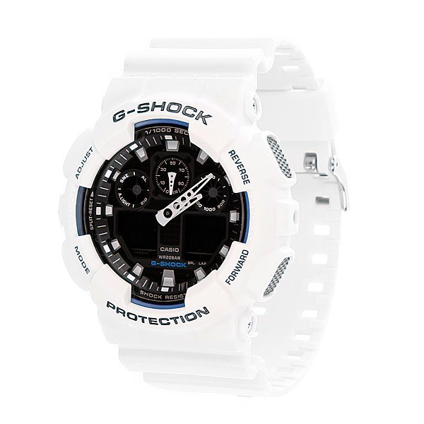 Часы Casio G-Shock GA-100B-7AПросто немного наклоните часы к себе, чтобы включилась светодиодная подсветка циферблата.Благодаря противоударной защите часы могут выдержать достаточно сильный удар или сотрясение без негативных последствий.Корпус данной модели экранирует механизм от воздействия магнитных полей.С помощью функции мирового времени часы отображают время в 29 часовых поясах.Измеряет промежуток времени и время окончания с точностью до тысячных секунд. Сопровождается сигналами запуска/ остановки работы секундомера. Измеряемая способность до 100 часовДля поклонников точности: в заданное время таймер обратного отсчета с помощью звукового сигнала напомнит вам о текущих или особенных событиях. Сигнал можно установить как на следующую минуту, так и на любое время до 24 часов. Также отсчет может начаться в заранее заданное время. Идеально подойдет тем, кому необходимо ежедневно принимать лекарства, а также при тренировках с чередующимися нагрузками.Ежедневный сигнал напомнит вам о текущих делах с помощью установленного на определенное время звукового сигнала. Также по истечении каждого часа часы могут издавать сигнал, который вы можете отключить. Эта модель имеет пять независимых сигналов, что особенно удобно для напоминания о регулярных делах или встречах.После прекращения сигнала будильника он снова начинает звучать спустя несколько секунд.Батарейка обеспечит работу всех функций часов на протяжении около 2 лет.Различная длина месяцев (28, 30 или 31 день) корректируется автоматически.Прочное и устойчивое к царапинам минеральное стекло защищает часы от любых повреждений, которые могут испортить внешний вид часов.Пластиковый корпус.Ремешок из пластика.Отлично подходят для ныряния без акваланга: выдерживают давление до 20 бар / 200 метров. Эта величина означает не допустимую глубину погружения, а атмосферное давление, которое выдерживает модель во время теста на водонепроницаемость (ISO 2281).Точность хода +/- 15 секунд в месяц.Тип батарейки CR1220.Размеры: 55 мм x 5