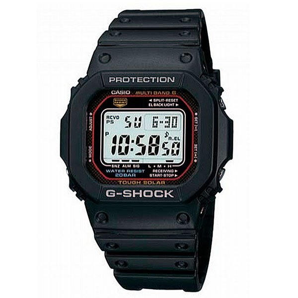 Часы Casio G-Shock GW-M5610-1EПросто немного наклоните часы к себе, чтобы включилась подсветка циферблата. Авто ILLUMINATOR подсвечивает весь циферблат. Благодаря противоударной защите часы могут выдержать достаточно сильный удар или сотрясение без негативных последствий.Автономная экологически чистая солнечная панель обеспечивает часы энергией. Неиспользуемая энергия запасается в аккумуляторной батарейке часов.В Европе, Северной Америке, во многих районах Канады и Центральной Америки и в Японии часы самостоятельно синхронизируются по радиосигналу с эталонным временем местного часового пояса. Также во многих странах автоматически отображается летнее и зимнее время.С помощью функции мирового времени часы отображают время в 29 часовых поясах.Прошедшее и финальное время, а также время прохождения этапов измеряется с точностью 1/100 секунды. Максимальное измеряемое время 1000 часов.Для поклонников точности: в заданное время таймер обратного отсчета с помощью звукового сигнала напомнит вам о текущих или особенных событиях. Сигнал можно установить как на следующую минуту, так и на любое время до 1 часа. Идеально подойдет тем, кому необходимо ежедневно принимать лекарства, а также при тренировках с чередующимися нагрузками.Ежедневный сигнал напомнит вам о текущих делах с помощью установленного на определенное время звукового сигнала. Также по истечении каждого часа часы могут издавать сигнал, который вы можете отключить. Эта модель имеет пять независимых сигналов, что особенно удобно для напоминания о регулярных делах или встречах.После прекращения сигнала будильника он снова начинает звучать спустя несколько секунд.Звук кнопок может быть выключен или включен благодаря использованию установочного модуля. Это означает, что часы больше не будут пищать во время перехода от одной функции к другой. При этом будильник и таймер обратного отсчета будут сигнализировать вне зависимости включен ли звук кнопок или нет.Данный индикатор информирует вас об уровне заряда батареи часов.Раз