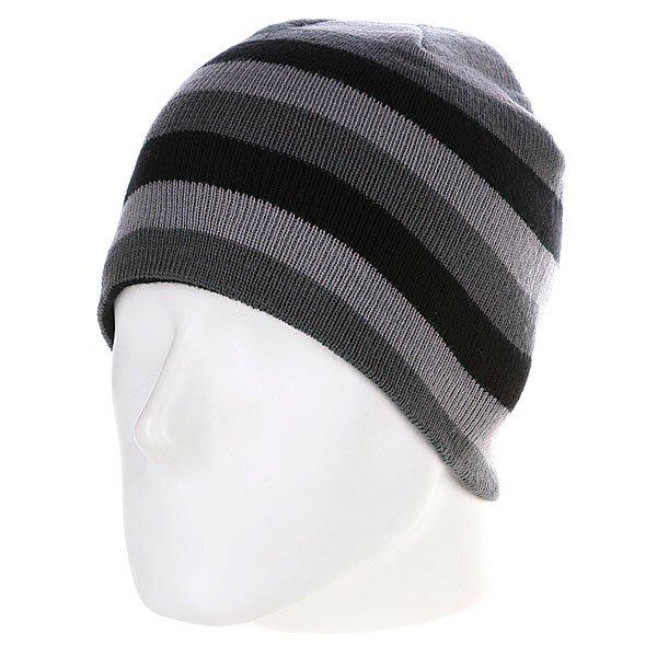 Шапка Urban Classics 3 Stripe Beanie Grey/Elephant/Black