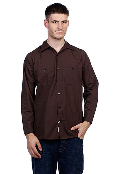 Рубашка Independent No Bs Button Up Chocolate Brown