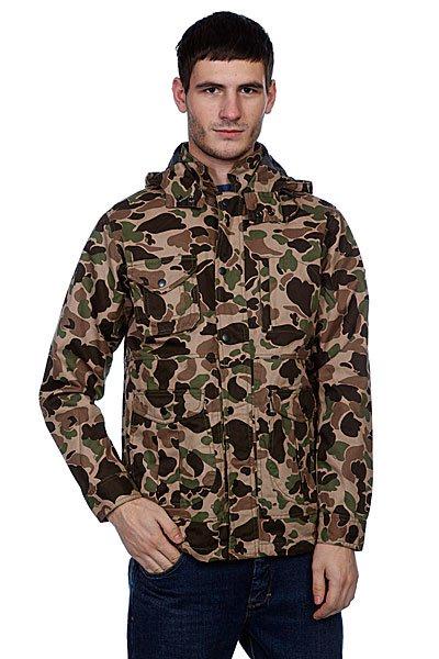 """Куртка Huf Waxed Highland Jacket Duck CamoКуртка """"Huf Highland Waxed"""" сделанная из парусины  с двойной застежкой на молнии и заклепках позволит забыть о холоде и влаге даже в самые ненастные дни. Модель включает: передние карманы на застежках: 2 кармана на груди с молнией; убираемый воротник с завязками; материал - 100% хлопок.<br><br>Цвет: коричневый,зеленый,камуфляжный<br>Тип: Куртка<br>Возраст: Взрослый<br>Пол: Мужской"""