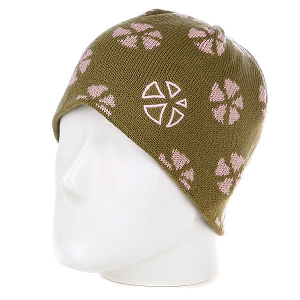 Шапка женская Animal Finch Print Beanie Dusky Green