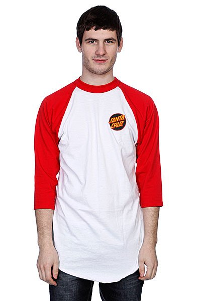 футболка-santa-cruz-dot-raglan-white-red