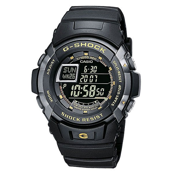 Часы Casio G-Shock G-7710-1EБлагодаря электролюминесцентной панели, обеспечивающей освещение всего циферблата, облегчается считывание данных. Характеризуется наличием функции задержки отключения, благодаря которой подсветка горит еще несколько секунд после отпускания кнопки освещения.Ударопрочная конструкция защищает от ударов и вибрации. Память на 100 временных событий.Обеспечивает отображение текущего времени в некоторых городах и определенных регионах мира.Полностью автоматический календарь, учитываются месяцы разной продолжительности и високосные годы.Секундомер - точность 1/100 секунды, максимальное измеряемое время 1 час.Таймер, с двумя независимыми режимами отсчета времени.Функция многократного сигнала (5 сигналов) позволяет устанавливать ежедневный сигнал (только время) и сигнал на определенное время в определенный день (месяц, день, время). Световая индикация сигнала.Жесткое минеральное стекло, устойчивое к царапанию.Ремешок из полимерного материала. Срок службы батареи 5 лет.Водонепроницаемость при давлении 20 атмосфер. (WR 200)Размер корпуса 52,3мм x 45,9мм x 14,6мм.Вес - 70 г.<br><br>Тип: Электронные часы<br>Возраст: Взрослый<br>Пол: Мужской