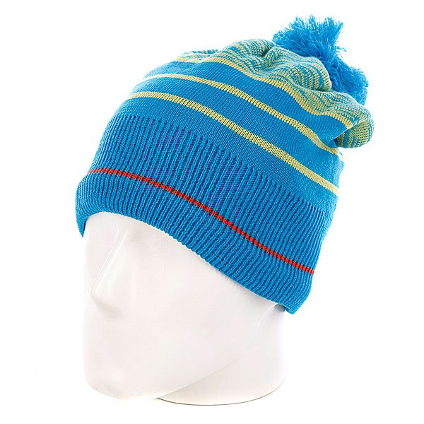 Шапка с помпоном Dragon Riley Stripe Beanie Indian Teal