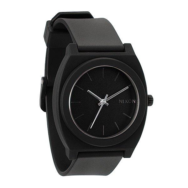 Часы Nixon The Time Teller P Matte BlackМаксимально плоские, кислотно яркие и невероятно простые, эти часы созданы для того, чтобы сообщать вам точное время. Японский кварцевый механизм, поликарбонатный корпус с прочным минеральным стеклом, полиуретановый ремешок, поликарбонатная застежка, и водонепроницаемость 100 метров, делают данные часы прекрасным выбором для людей, которые проводят свой отдых на воде.Японский механизм Miyota.Усиленное минеральное стеклоWR (водонепроницаемость) 100 метровФирменный ремешок с двойной фиксацией замка «Looking Lopper» (Мертвая петля), данный ремешок фиксируется не только замком из нержавеющей стали, но и сам ремешок имеет дополнительный фиксатор на кольце ремешка.<br><br>Тип: Кварцевые часы<br>Возраст: Взрослый<br>Пол: Мужской