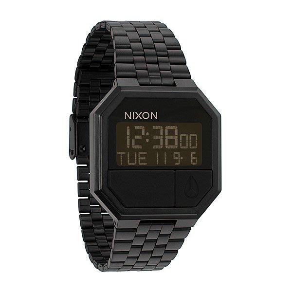 Часы Nixon The Re-Run All BlackЦифровые часы с календарем, будильником, секундомером и подсветкой. Возможность установить два времени. Корпус из стали. Минеральное стекло. Стальной ремешок с застежкой из поликарбоната.Механизм: электронный, с 4 функциями: календарь, 2 времени, будильник, таймер обратного отстчета, а также с подсветкойКорпус: ширина 38.50mm, сталь, водонепроницаемость с характеристикой 50 м (5 атмосфер, брызги, дождь, нельзя плавать и нырять), кнопки из полиуретана, минеральное стеклоРемешок: сталь. Ширина 18.25mm<br><br>Тип: Электронные часы<br>Возраст: Взрослый<br>Пол: Мужской
