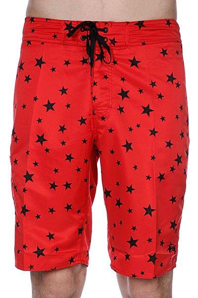 Пляжные мужские шорты Stussy Stars Trunk - Long Red<br><br>Цвет: красный,черный<br>Тип: Шорты пляжные<br>Возраст: Взрослый<br>Пол: Мужской