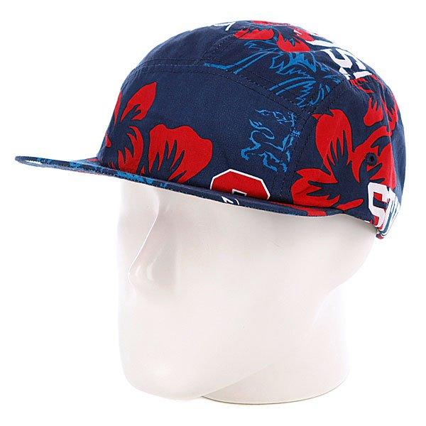 Бейсболка пятипанелька Stussy College Floral Camp Cap Navy<br><br>Цвет: синий,красный<br>Тип: Бейсболка пятипанелька<br>Возраст: Взрослый