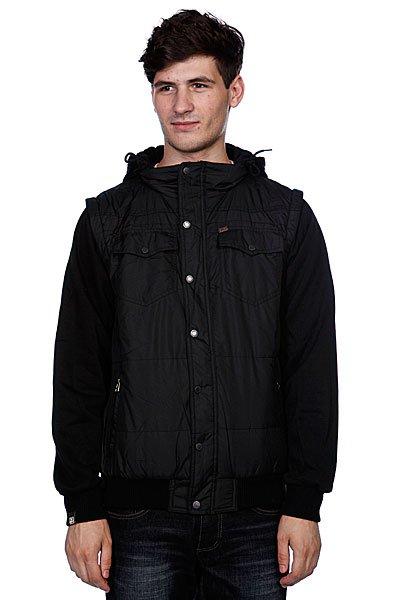 Куртка зимняя Globe Kilburn Jacket BlackТехнические характеристики: Верх из полиэстера. Внутренняя подкладка из тафты.Без утепления.  Застежка – молния + кнопки по всей длине.  Фиксированный капюшон с утяжкой.  Два боковых накладных кармана для рук.  Эластичные лайкровые манжеты на рукавах и поясе.  Два накладных кармана на кнопках на груди. Фасон: стандартный (regular fit).<br><br>Цвет: черный<br>Тип: Куртка<br>Возраст: Взрослый<br>Пол: Мужской