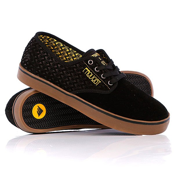 Кеды кроссовки низкие Emerica Laced Toy Machine Provost Black/Yellow футболка toy machine leopard brown