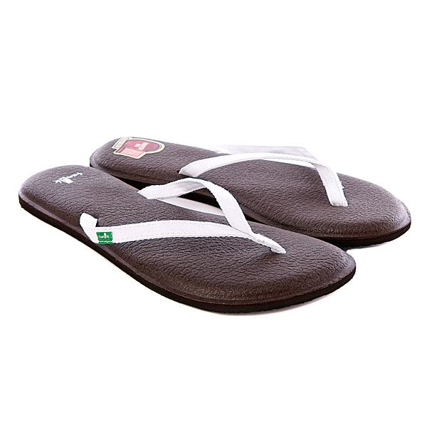 Шлепанцы женские Sanuk Yoga Spree 2 White<br><br>Цвет: белый,коричневый<br>Тип: Вьетнамки<br>Возраст: Взрослый<br>Пол: Женский