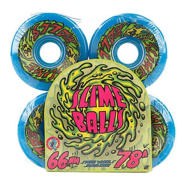 Колеса для скейтборда для лонгборда Santa Cruz Slime Ball 66S Neon Blue 78A 66 mm Proskater.ru 1880.000
