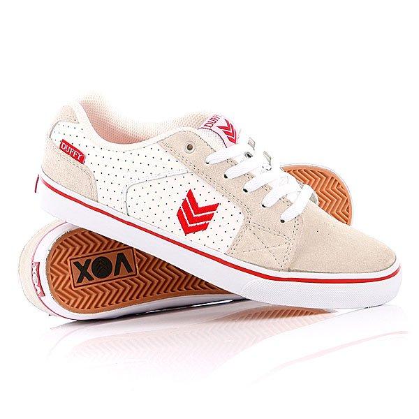 Кеды кроссовки низкие Vox Duffy L.Gray/White/WhiteПредставляем Пэта Даффи (Pat Duffy) и его про-модель обуви от фирмы Vox. Славный покоритель перил Даффи предпочитает традиционную обувь, поэтому кеды Vox Duffy имеют округлые черты, толстые стенки, прошитую конвертом «зону олли», многослойный замшевый верх и вулканизированную подошву с глубоким зиг-загом. Неизменный компонент обуви Vox, гелевая вставка под пяткой I.R.S. Gel System и противоударные стельки с портретом Пэта дополняют комплект. Характеристики:    Верх из многослойной натуральной замши со вставками из иск.кожи.   Внутренняя тканьная отделка.   Амортизирующая шумопоглощающая полиуретановая стелька EVA.   Термопластичное уплотнение в области носка.  Гелевые вставки под пяткой I.R.S. Gel System.Мягкий язычок и воротник.  Перфорация на боковой части ботинка.Классическая плоская шнуровка.  Перфорированные вставки по бокам ботинка. Вулканизированная резиновая подошва из натурального каучука с декоративным рантом. Логотип производителя на боковой части ботинка и язычке.<br><br>Цвет: бежевый<br>Тип: Кеды низкие<br>Возраст: Взрослый<br>Пол: Мужской