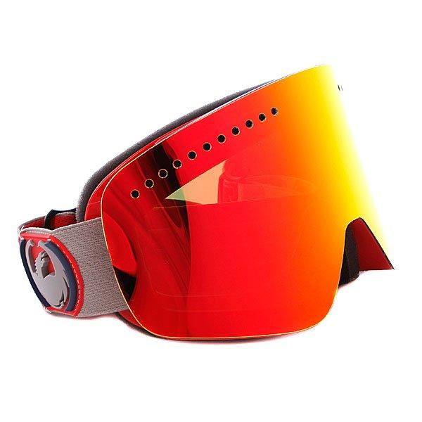 Маска Dragon NFX Frame Team Spirit Lens Red Ionized + Yellow Blue IonizedТехнические характеристики:  Цилиндрическая  форма линз.  Двойная конструкция линзы из лексана.  Технология антибликового защитного покрытия линз (на 100% защищает от ультрафиолетового излучения (блокирует вредное UVA, UVB, UVC излучение, а также ультрафиолетовое излучение до 400 NM).  Технология антизапотевания линзы Super Anti-Fog.  Вентиляционные отверстия сверху маски.  Гибкая оправа из полиуретана.  Внутреннее покрытие из защитной тройной формирующей пены для лучшего прилегания маски к лицу и потоотведения.  В месте соприкосновения с лицом дополнительный слой нежного поглощающего влагу флиса Polartec. Линзы с устойчивым к царапинам покрытием. Регулируемый ремешок с накладкой против скольжения.  Совместимость со всеми видами шлемов.  Оптимизирована для средней формы лица. Светопередача –20 - 25 % (Лучше всего подходит для яркого солнца, добавляет четкости и защищает от яркого света). Дополнительная сменная линза в комплекте (Светопередача - 45% - 55%, подходит для меняющихся условий освещения от слабого освещения до облачной погоды, добавляет четкости и защищает от яркого света.)<br><br>Тип: Маска для сноуборда<br>Возраст: Взрослый<br>Пол: Мужской