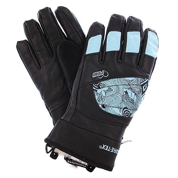 Перчатки сноубордические женские Pow Ws Feva Glove Gtx BlueХарактеристики: Мягкая внутренняя подкладка из искусственного меха.  Мембрана GORE-TEX® – 5,000 мм/5,000 гр.   Внутренний наполнитель 3M Thinsulate  - 200 гр. Мягкая флисовая нашивка на большом пальце для протирания очков. Фиксирующие карабины для крепления перчаток к куртке. Вышитый логотип производителя.<br><br>Цвет: черный,голубой<br>Тип: Перчатки сноубордические<br>Возраст: Взрослый<br>Пол: Женский