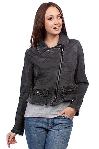 Куртка кожаная женская Converse Assymetrical Moto Jacket Black