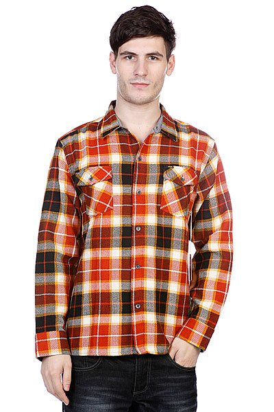 Рубашка в клетку Enjoi Not Bad Plaid Orange рубашка утепленная enjoi not bad plaid turquoise