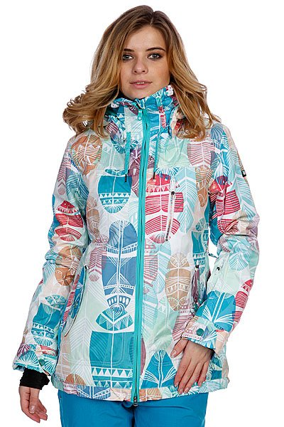 Куртка женская Roxy Wildlife Printed White/Blue/Red Proskater.ru 11980.000